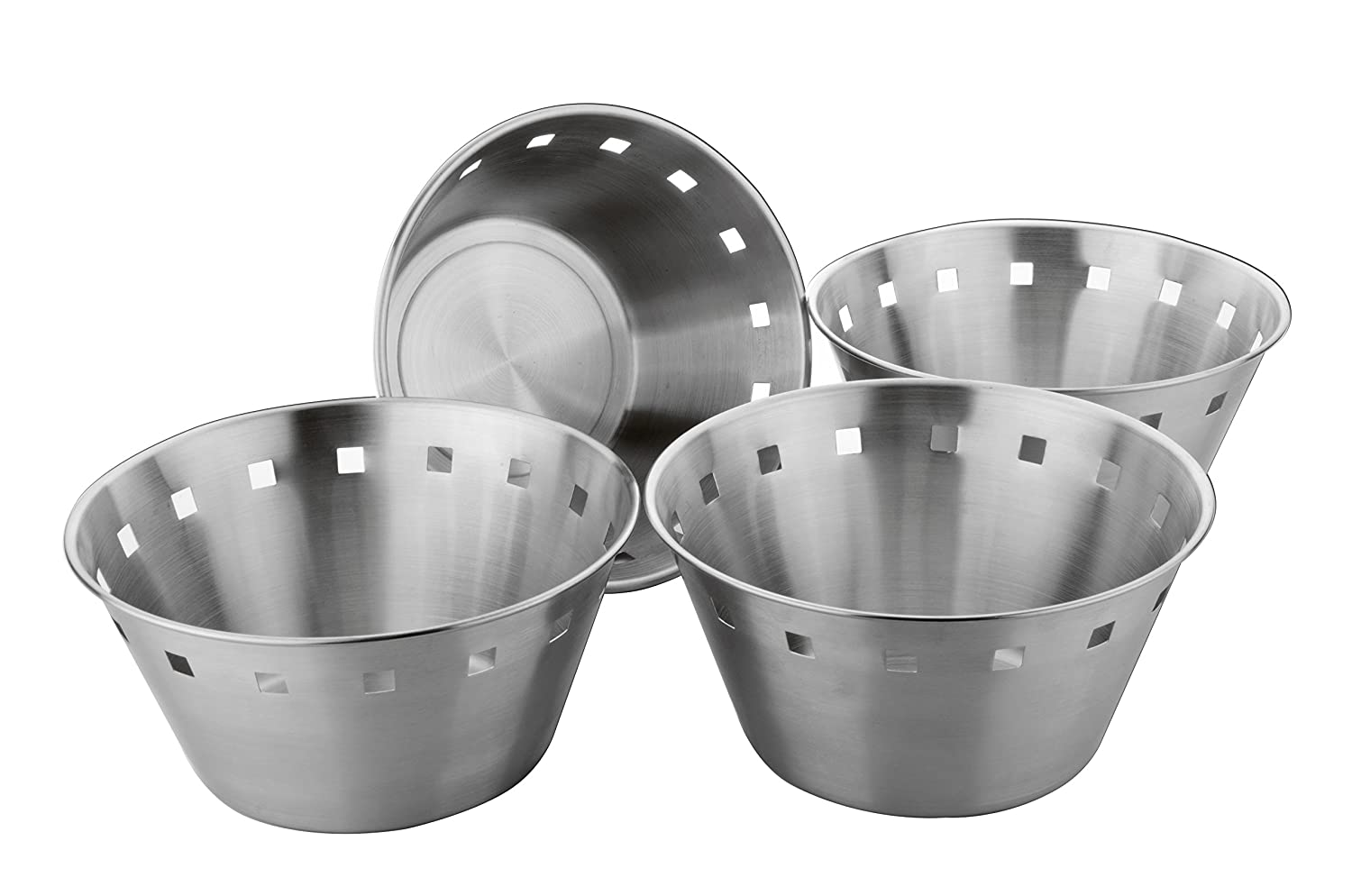 Bhalaria Stainless Steel Bread Basket Set, 19.5Cm, Set Of 4, Silver
