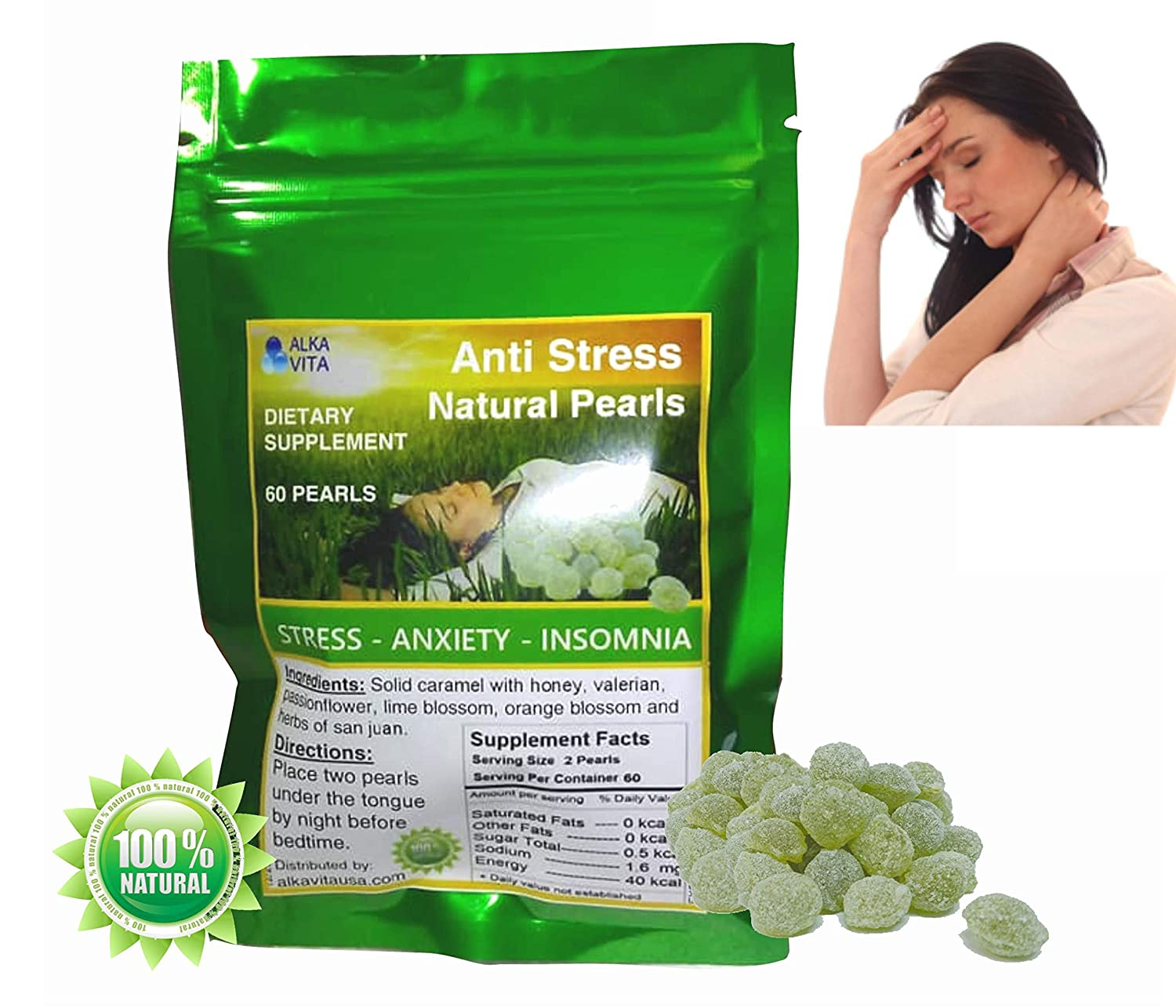 Amazon.com: Stress Insomnia Anxiety Pearls Herbal Natural Health Remedy Pasiflora Valeriana Tila (60 Pearls) ALKAVITA: Health & Personal Care