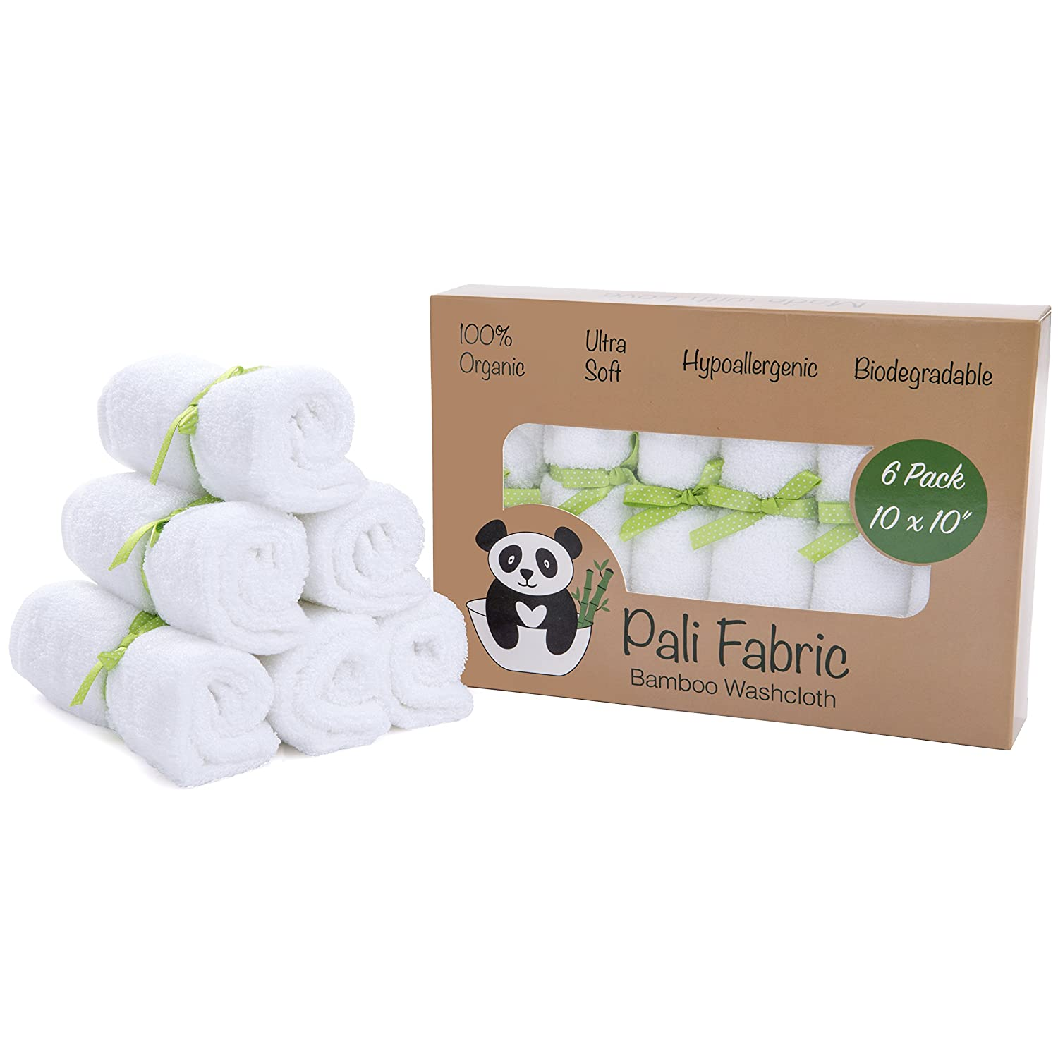Organic Bamboo Washcloths by Pali Fabric | 100% Organic Baby Bamboo Washcloths | Antibacterial and Hypoallergenic | Ultra Soft Bamboo Washcloths for Sensitive Skin | 10x10 Inch (6 Pack)
