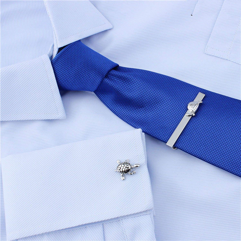 JIA-WALK Cute Movement Turtle Anime Cufflinks Tie Clip Set Animal Cuff Button French Shirt Jewelry with Box