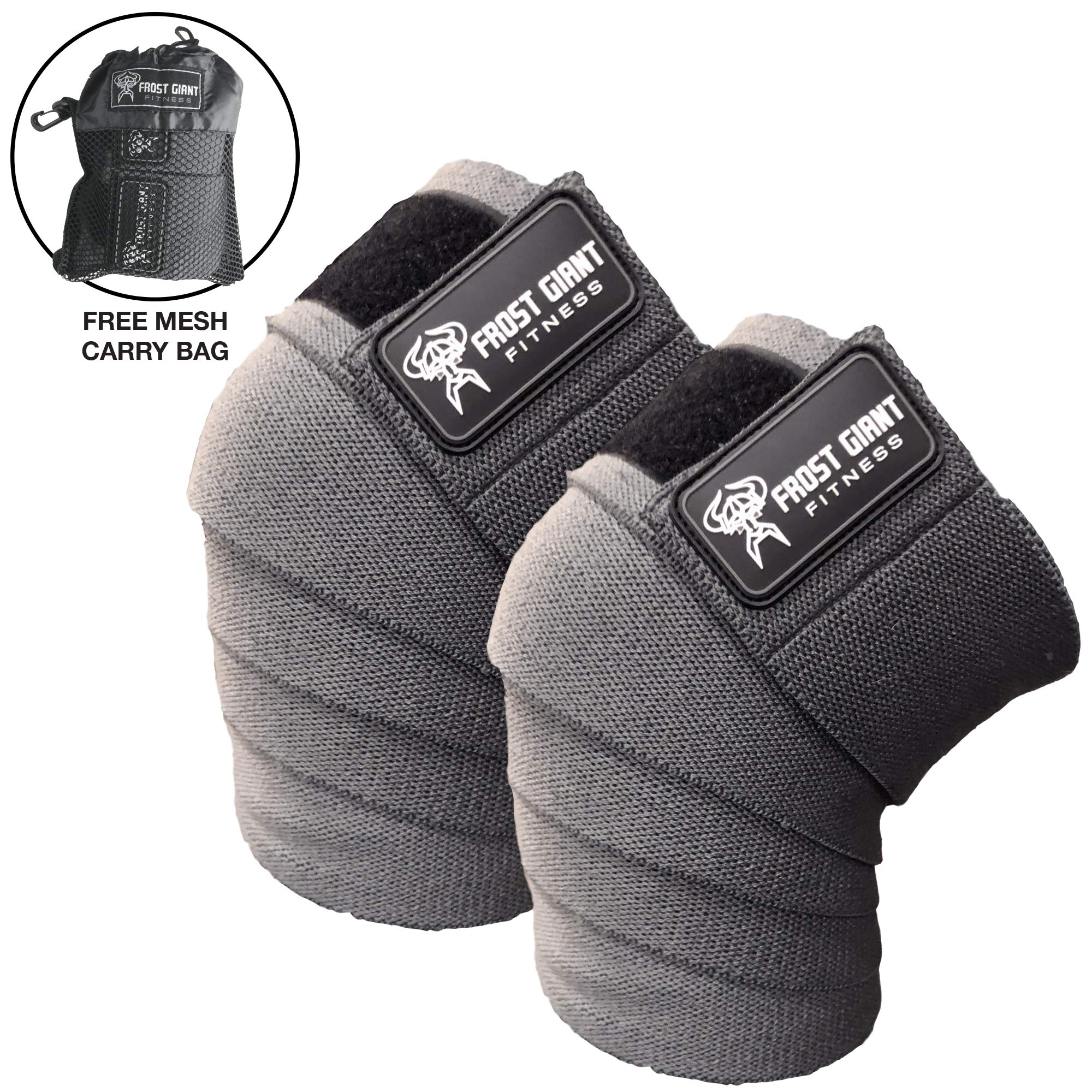 Frost Giant Fitness: 80'' Knee Wraps Set for Weightlifting, Bodybuilding, Lifting and Gym Workouts - Heavy Duty Exercising Knee Compression & Elastic Support for Men & Women. Includes Carry Bag! Grey
