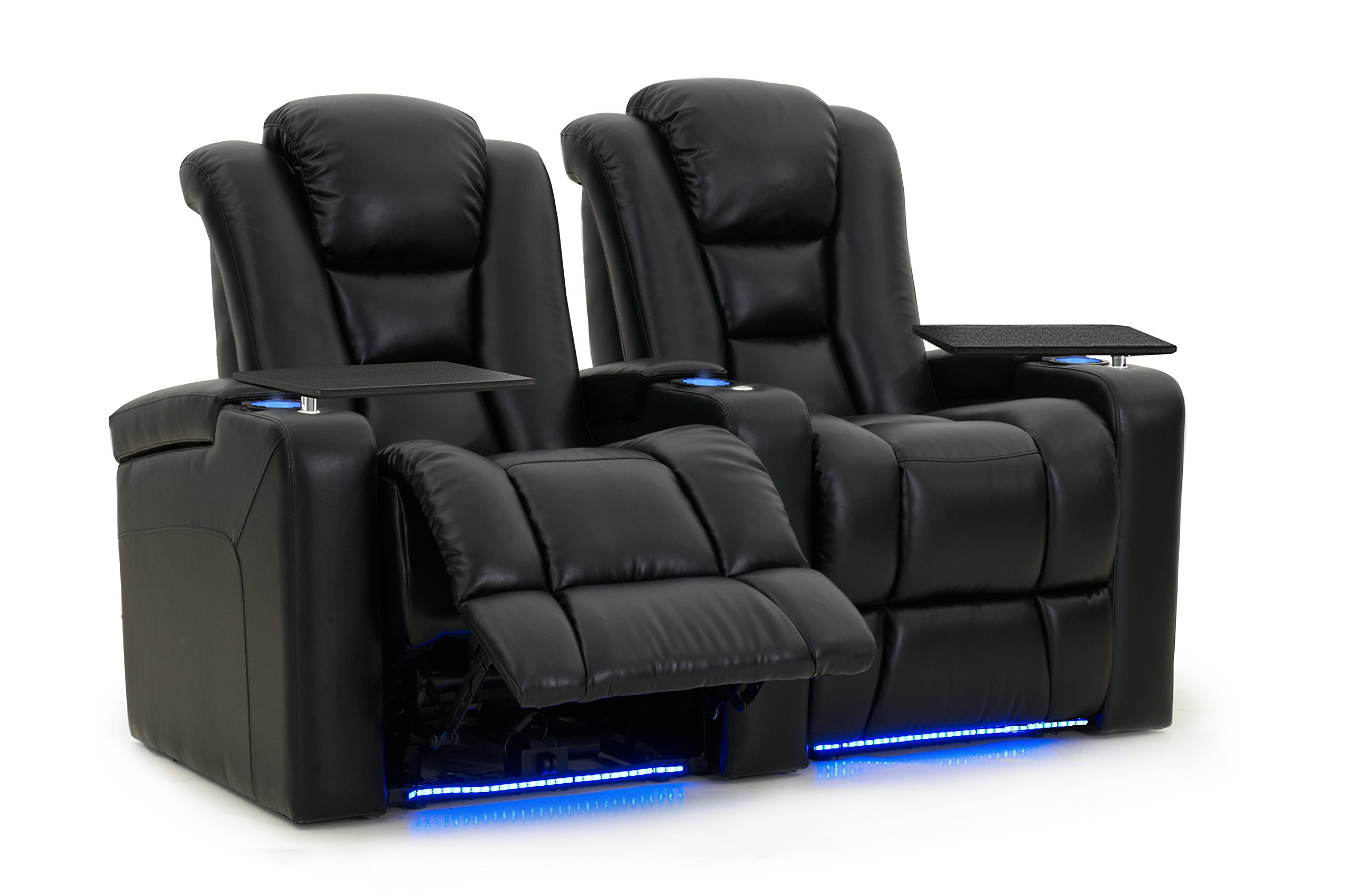 Mega XL950 - Octane Seating - Home Stadium Seating - Black Bonded Leather - Power Recline - Motorized Headrest - Lighted Cup Holders - Straight Row 2 by Octane Seating