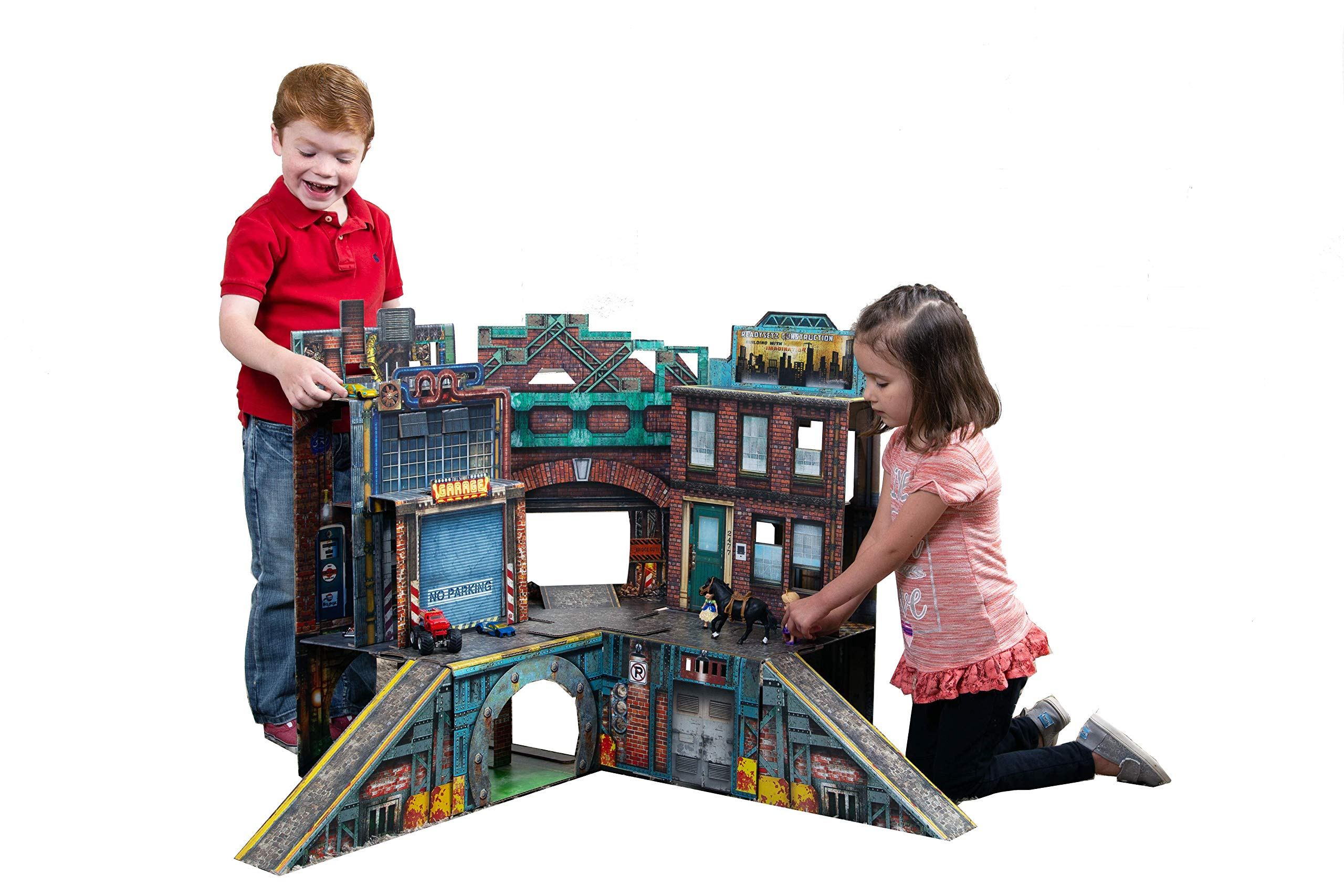 ReadySetz Detailed Graphics Play Set and Diorama - No Assembly, Foldable and Recyclable - Great for Toy Photography and Hours of Fun - Play Big, Store Small - Urban 2.0