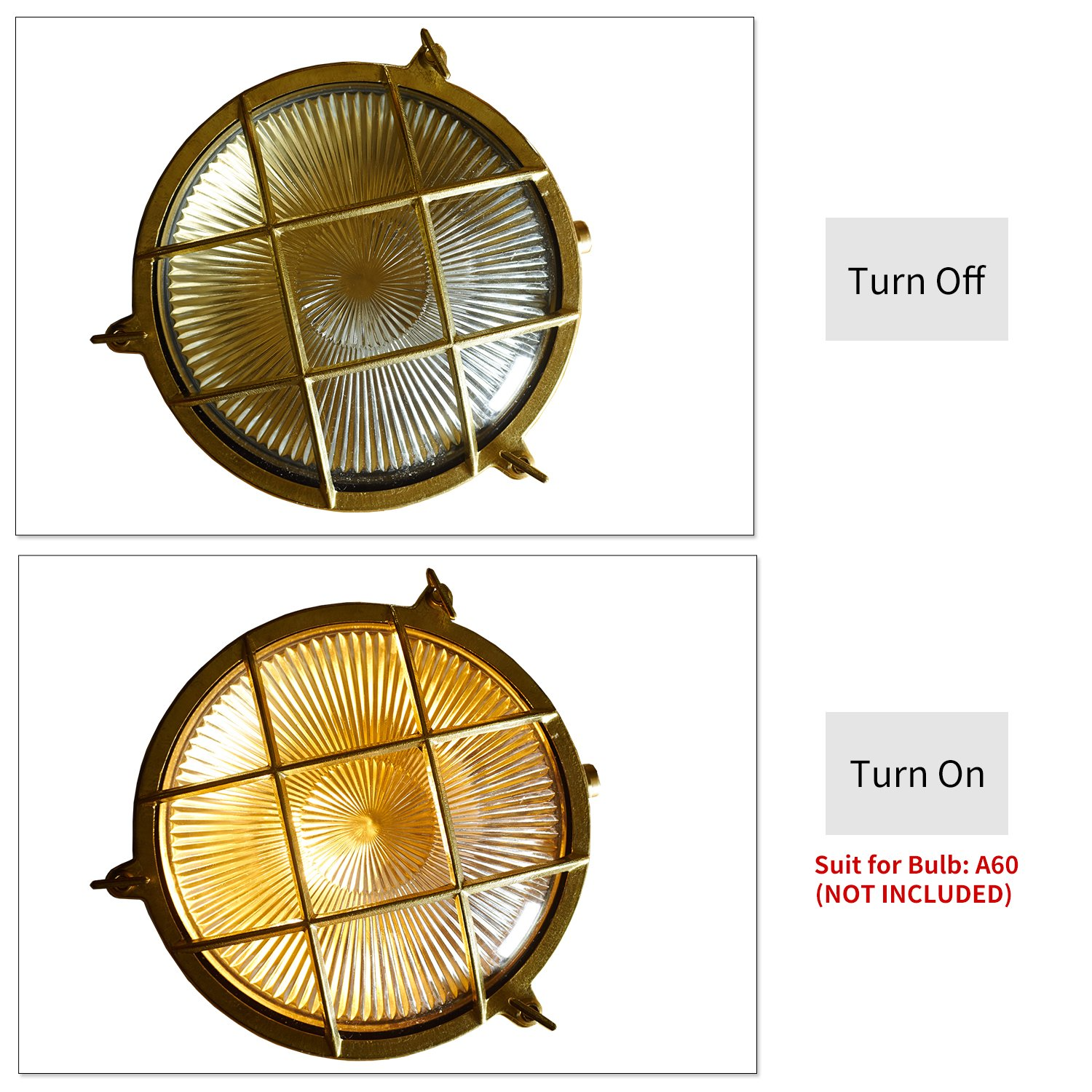 Wolink 8.5inch Wide Brass Nautical Bulkhead Lamp Fixtures,Polished Brass Outdoor Antique Wall Light