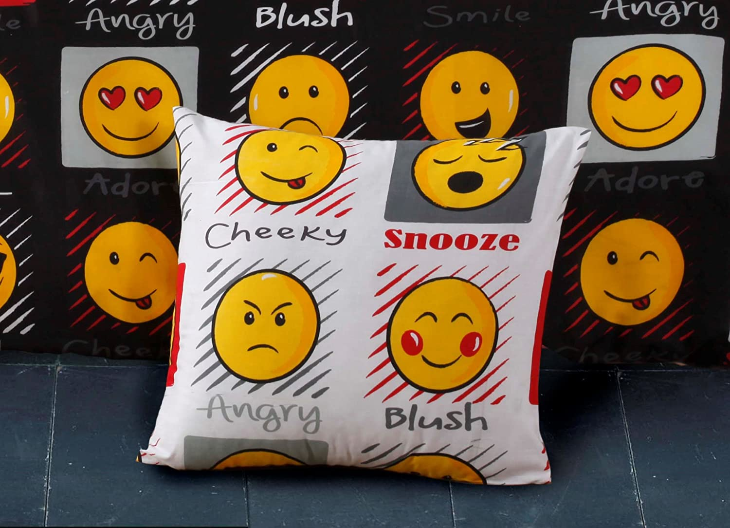 Emoji Expressions Smiley Face Cushion Cover White Angel' s HUB