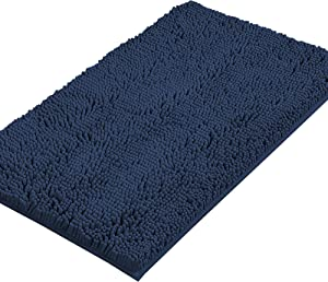 Bath Mats for Bathroom Non Slip Luxury Chenille Ultra Soft Bath Rugs 24x36 Absorbent Non Skid Shaggy Rugs Washable Dry Fast Plush Area Carpet Mats for Indoor, Bath Room, Tub - Navy