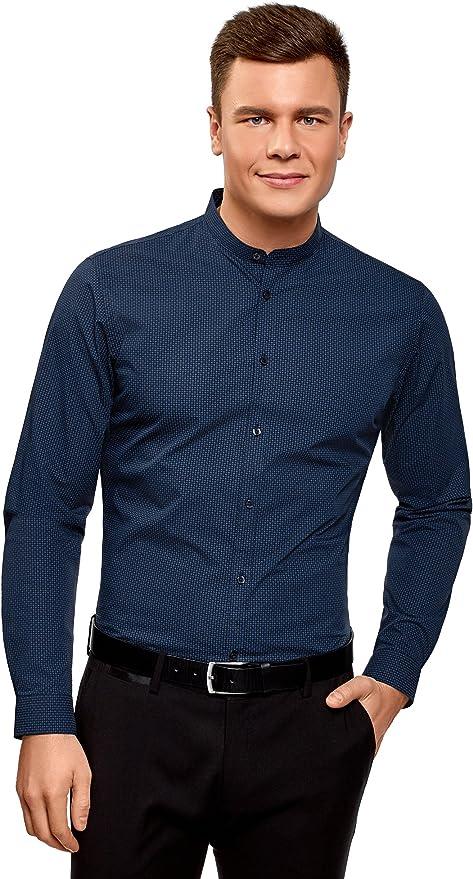 oodji Ultra Hombre Camisa de Algodón con Cuello Mao