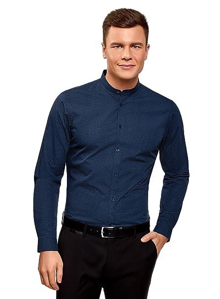oodji Ultra Hombre Camisa de Algodón con Cuello Mao a31a2b34f7d