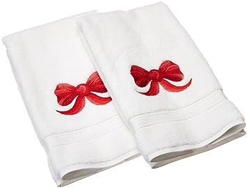Linum Home Textiles bordado toallas de mano con un lazo de cinta (Juego de 2), color blanco, talla única: Amazon.es: Hogar
