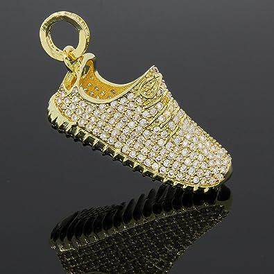 Gold Tone Yeezy Shoes Cz Pendant