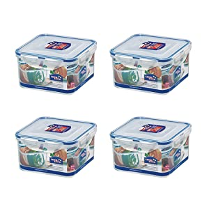 (Pack of 4) LOCK & LOCK Airtight Square Food Storage Container 40.58-oz / 5.07-cup