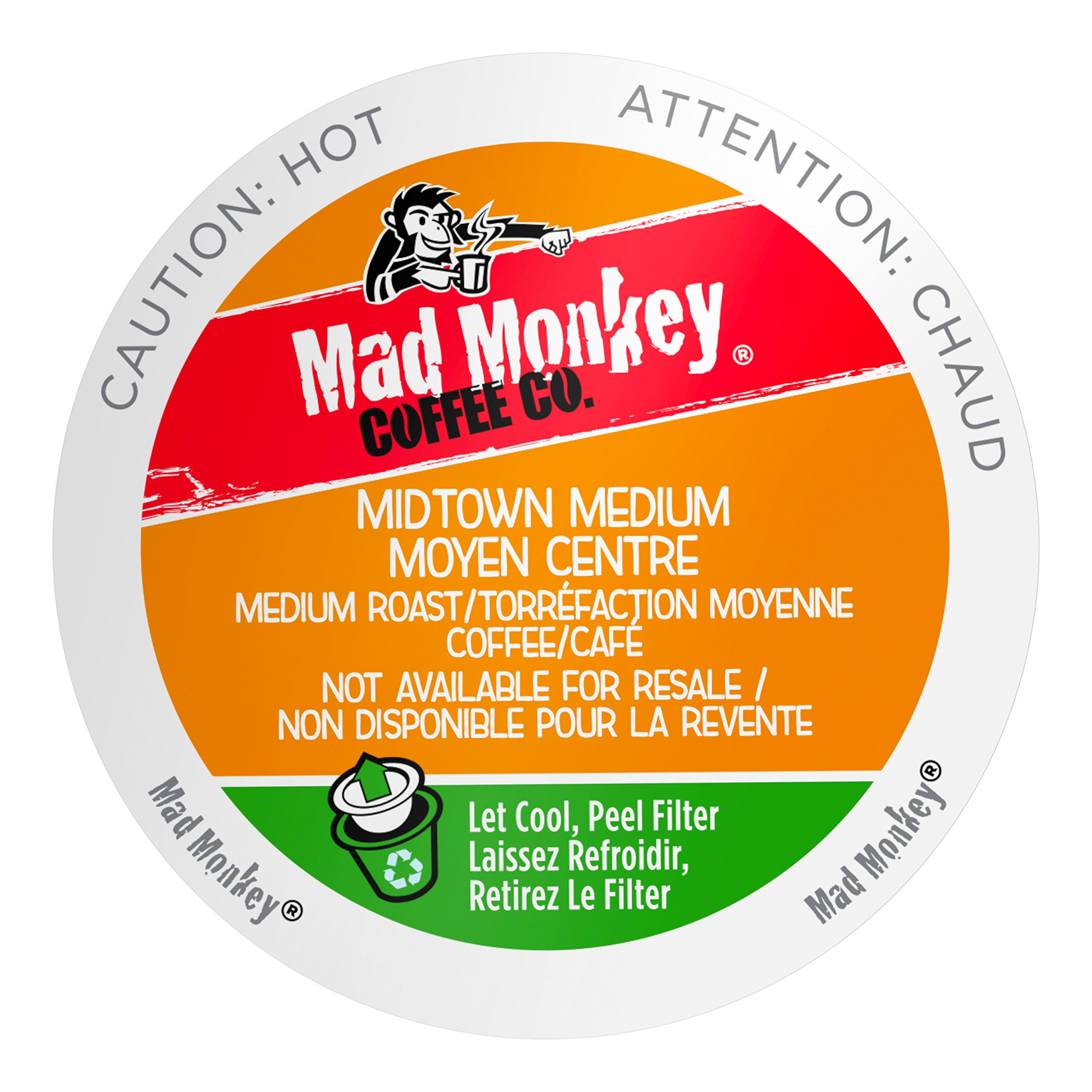 Mad Monkey Coffee Capsules, Midtown Medium, 48 Count