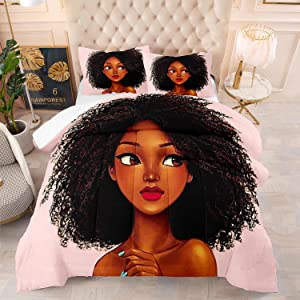 Black Girl Magic Comforter Set Pink for Girls Birthday Gift 3D African Girls Quilt Sets Ultra Soft Twin Size for Teens Bedroom Decor,1 Comfoter +1 Pillowcase