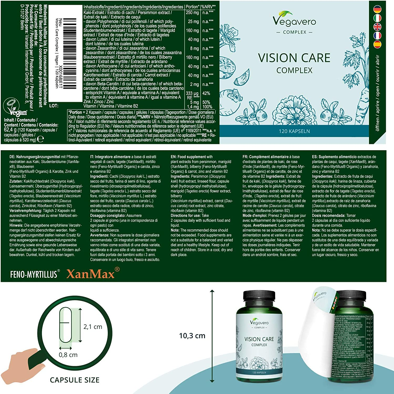 Luteína Complex Vegavero® | 100% Libre de Aditivos | Con Zeaxantina + Betacaroteno + Vitamina B2 + Citrato de Zinc + Extracto de Arándano y Kaki | 120 Cápsulas | Suplemento para Ojos & Vista: Amazon.es: Salud y cuidado personal