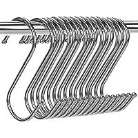 "H HOME-MART 20 Pack 3.5"" Hooks S Shaped Hanging Hooks Heavy Duty S Hanger Hook Metal Kitchen Pot Rack Hooks Closet Hooks…"