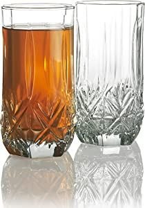 Elegant Highball Glasses {Set Of 12} Clear Heavy Base Tall Bar Glass, {16-oz} Drinking Glasses for Water, Juice, Beer, Wine, and Cocktails…
