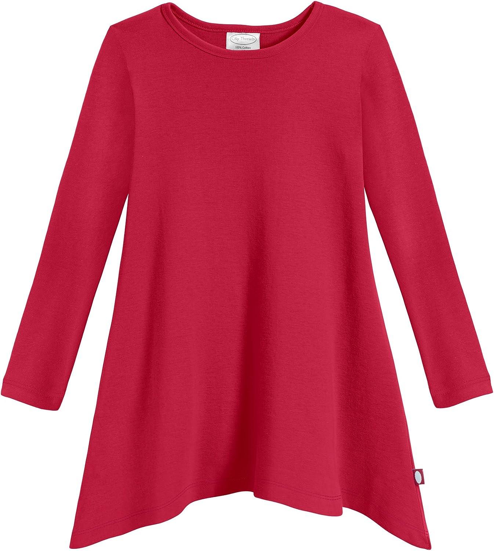 City Threads Sharkbite Girls Long Sleeve Tshirt Dress - Modern Stylish Tunic Top, 100% Natural Cotton Made in USA