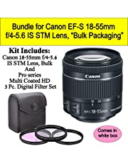 $104 Get Bundle for Canon EF-S 18-55mm f/4-5.6 is STM Lens (White-Box)