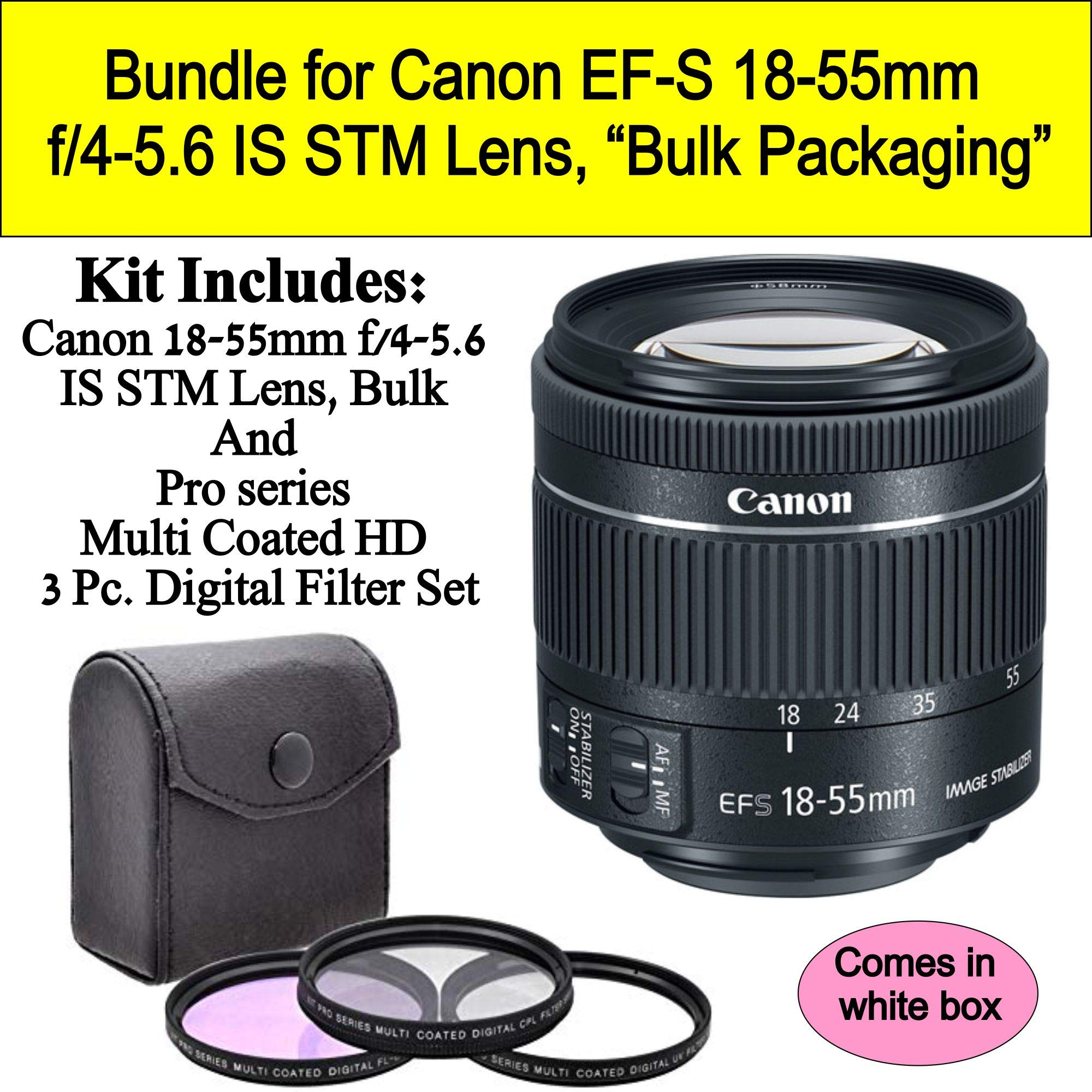 Bundle for Canon EF-S 18-55mm f/4-5.6 is STM Lens (White-Box) by Canon/clear