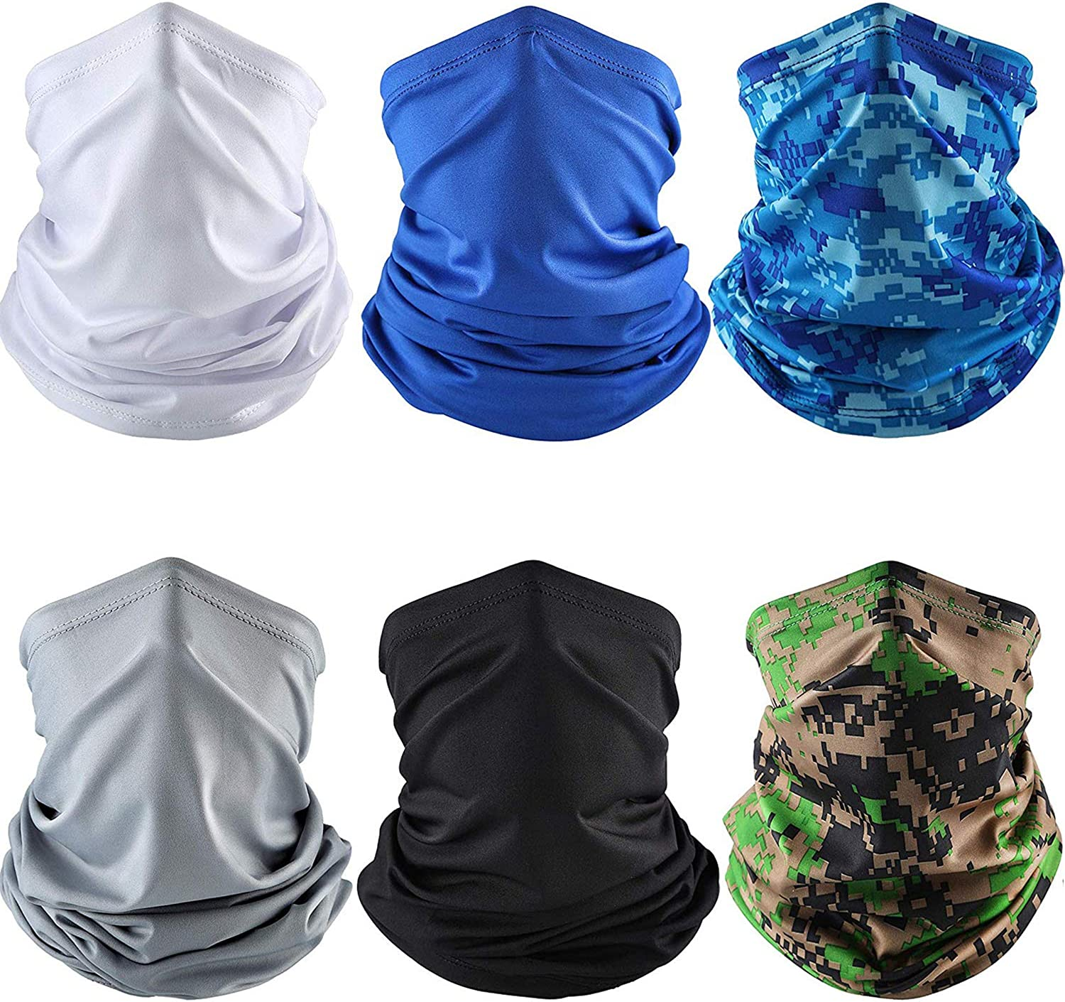 6 Pieces Summer UV Protection Face Mask Neck Gaiter Scarf Sunscreen Breathable Bandana (Color Set 1)