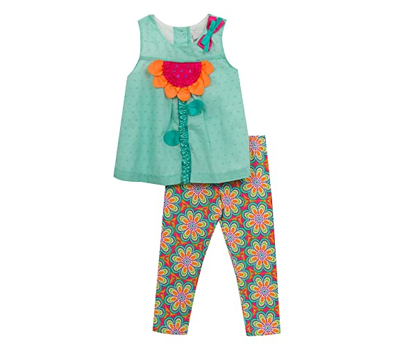 Rare Editions Girls 2T-4T 2-Piece Flower Take and Floral Leggings Set