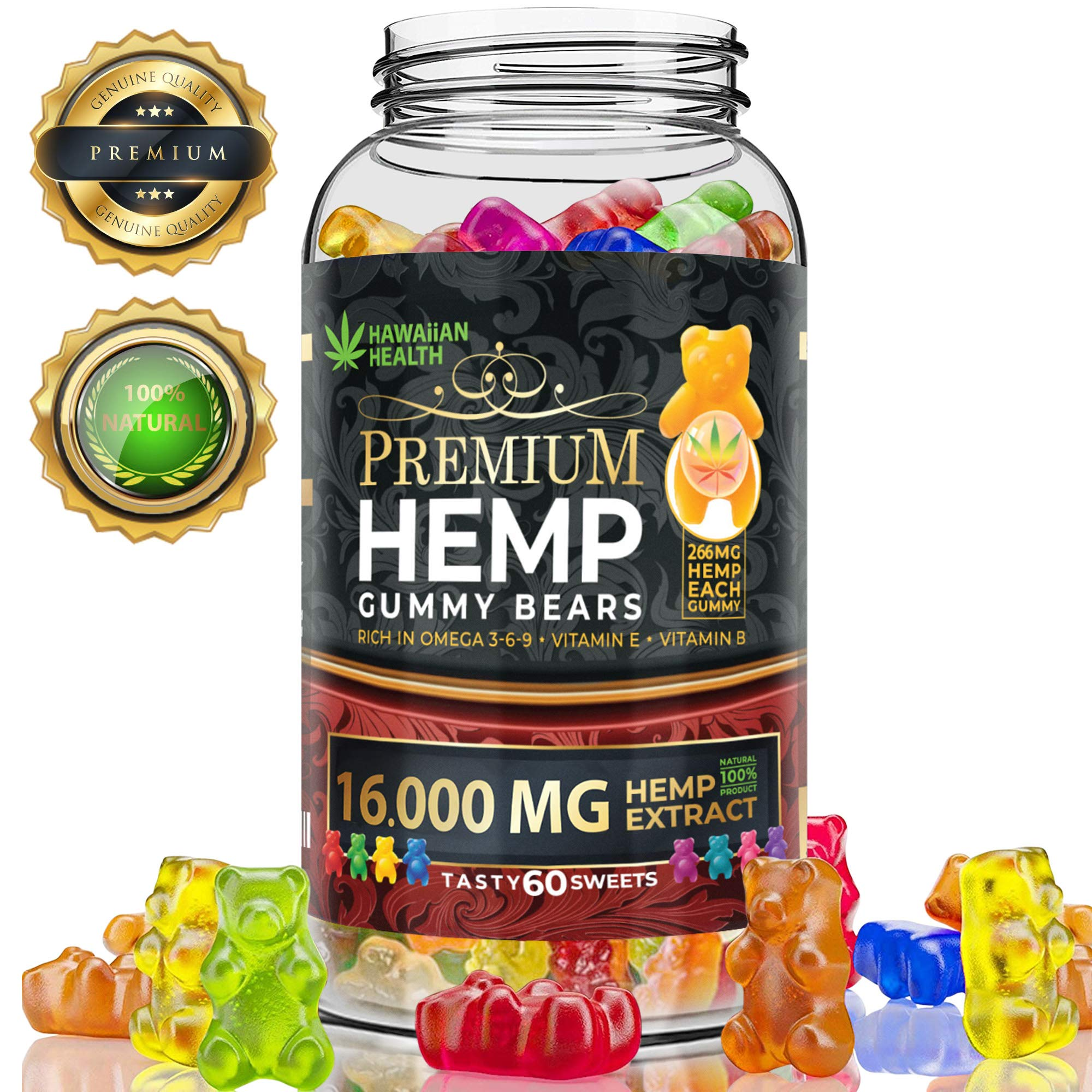 Natural Hemp Gummies 16000MG - 266MG Per Fruity Gummy Bear with Organic Hemp Oil | Natural Hemp Candy Supplements for Pain, Anxiety, Stress & Inflammation Relief | Promotes Sleep & Calm Mood by Hawaiian health