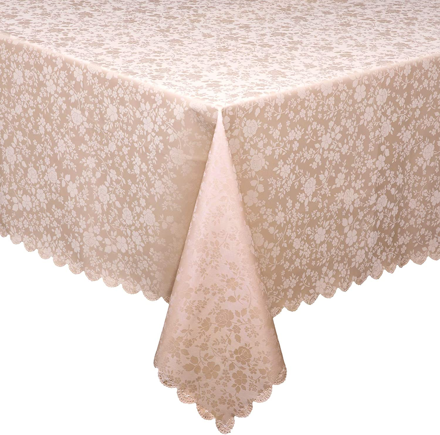 MONFINO Retangular Tablecloth,Waterproof Vinyl Table Cloth,Easy Care Dining Table Cover for Indoor and Outdoor Use (60''x84'', Beige)