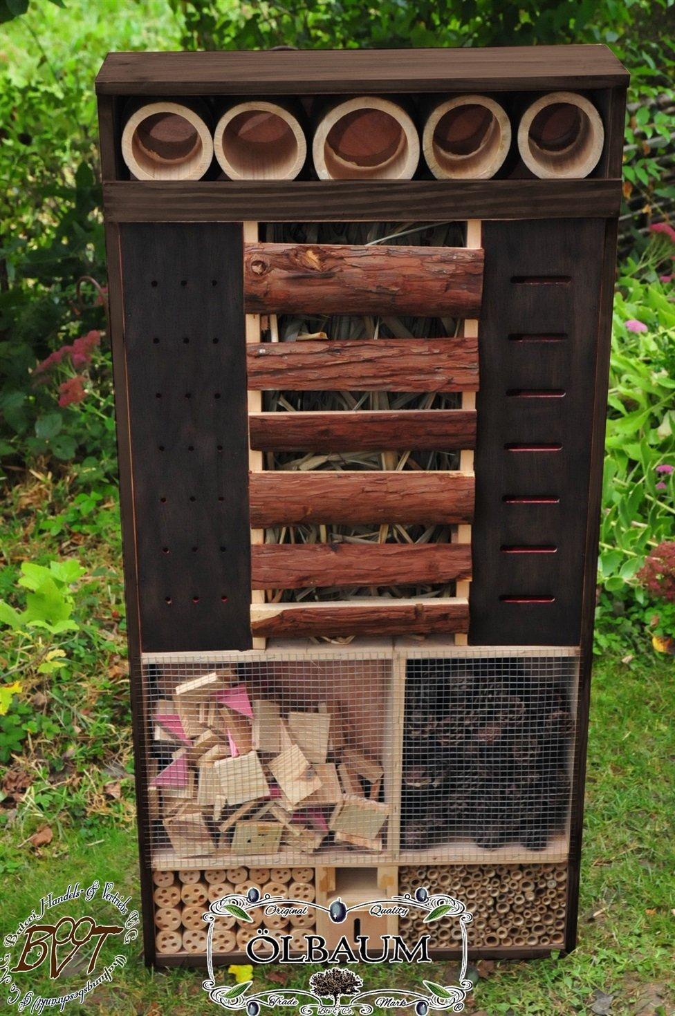 Insektenhotel, XXL über 1,2 Meter ca. 120 cm hoch x 60 cm breit x 17 cm tief, FRONT edel ANTHRAZIT,dunkel,wetterfest IN ANTHRAZIT (ANTHRAZITLASUR),INXXL-VAT-BEL-at001 NEU! MASSIVES GANZJAHRES-Insektenhotel,KOMPLETT wetterfest lasiert,MIT großem, Insektenhaus, Schmetterlingshaus Nistkasten, Insektenhotel mit Futterstation Farbe ANTHRAZIT lasiert,anthrazit / Holz natur,Ausführung Naturholz MIT WETTERSCHUTZ-FRONT für trockenes Futter