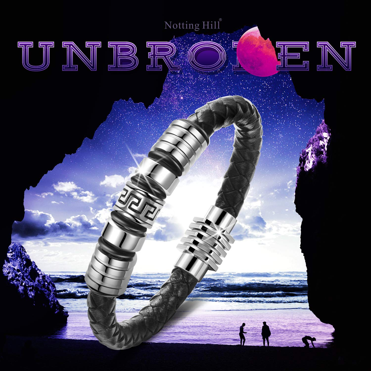 Black and Silver Unbroken Notting Hill Christm/äs Gifts Metal Titanium Steel Mens Bracelet
