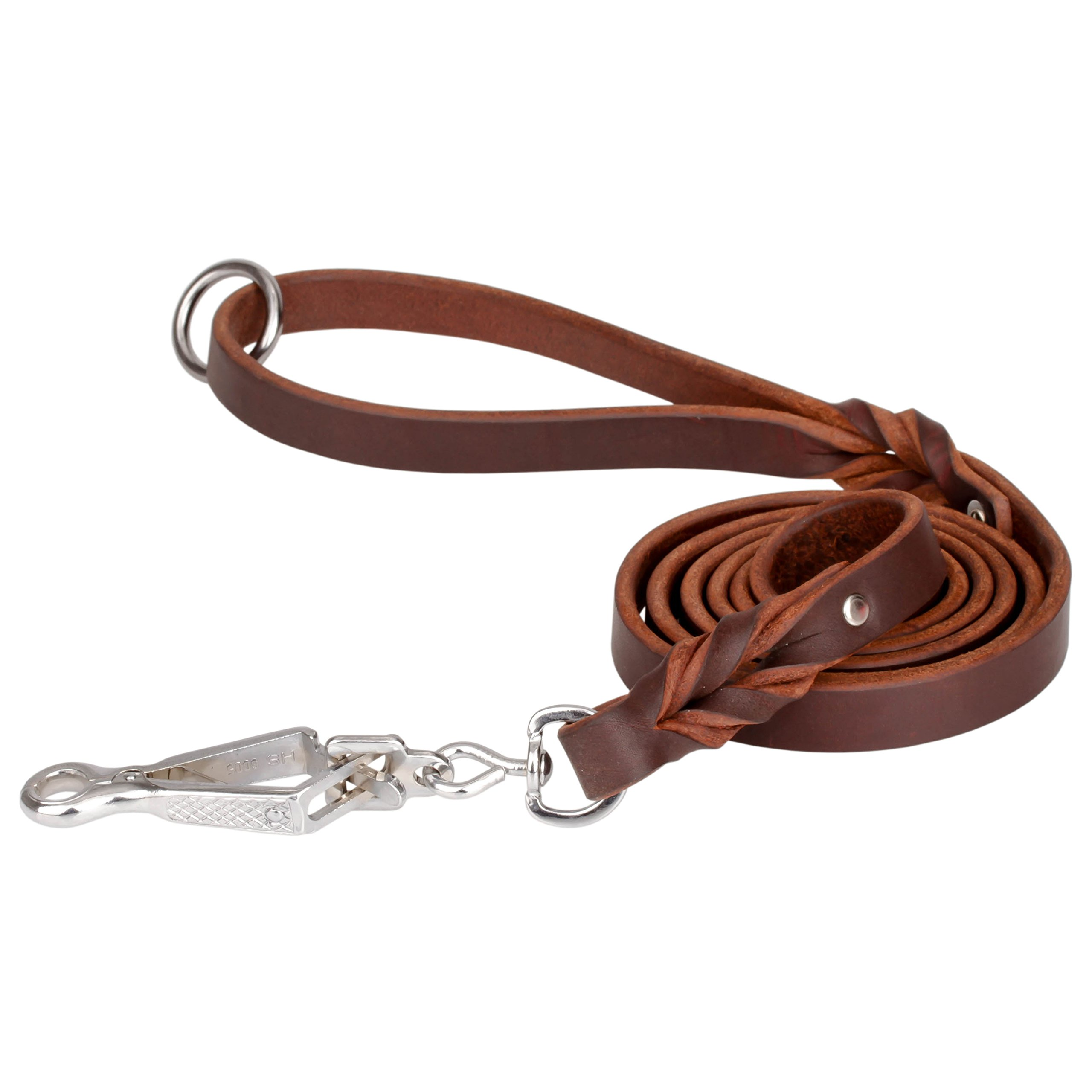 Herm Sprenger Handcrafted Leather Tervuren Leash with Quick Release Snap Hook 6 ft (180 cm) for Walking and Training