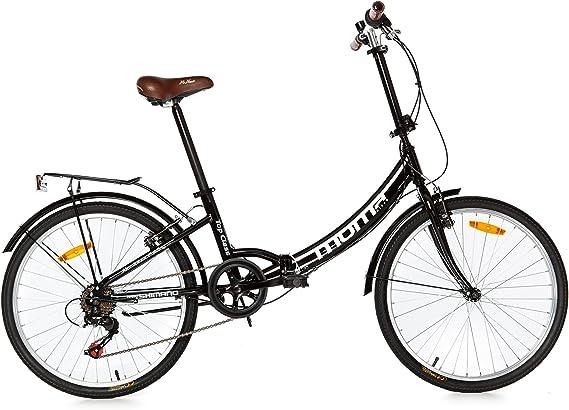 Moma Bikes Top Class 24 - Bicicleta Plegable Urbana, Cambio Shimano TZ-50 6 vel, Ruedas de 24″ con llantas de aluminio, color Negro: Amazon.es: Hogar
