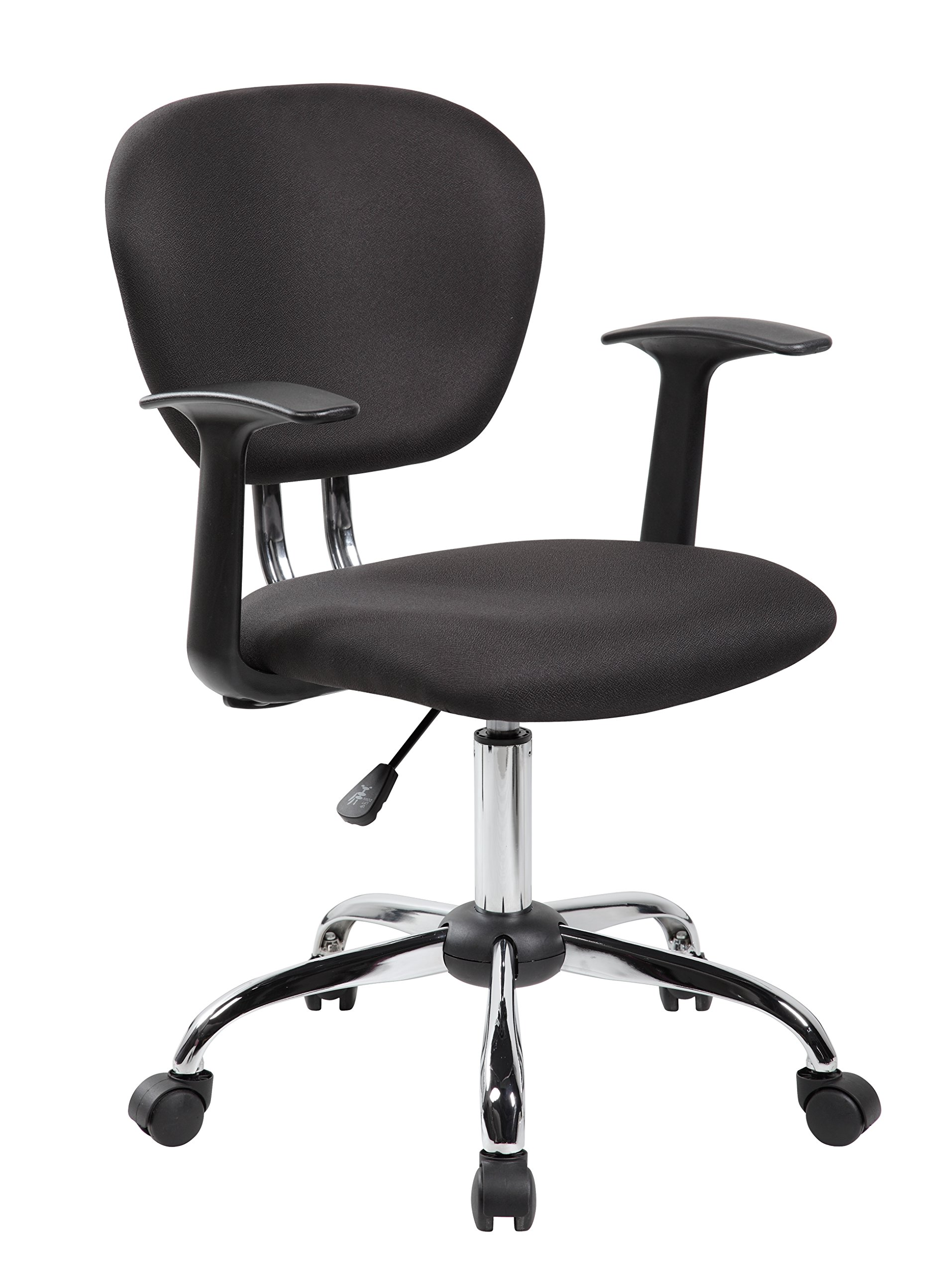 eurosports Task Chair ES-1008F-BK Mid-back Fabric Chair with Arms and Chrome Base, Black