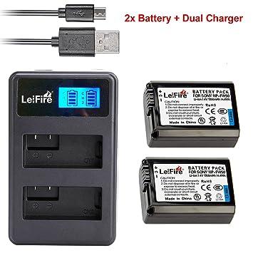 USB LCD dual cargador para Sony Alpha 7r Bateria np-fw50 //Alpha 7r II ILCE - 7r