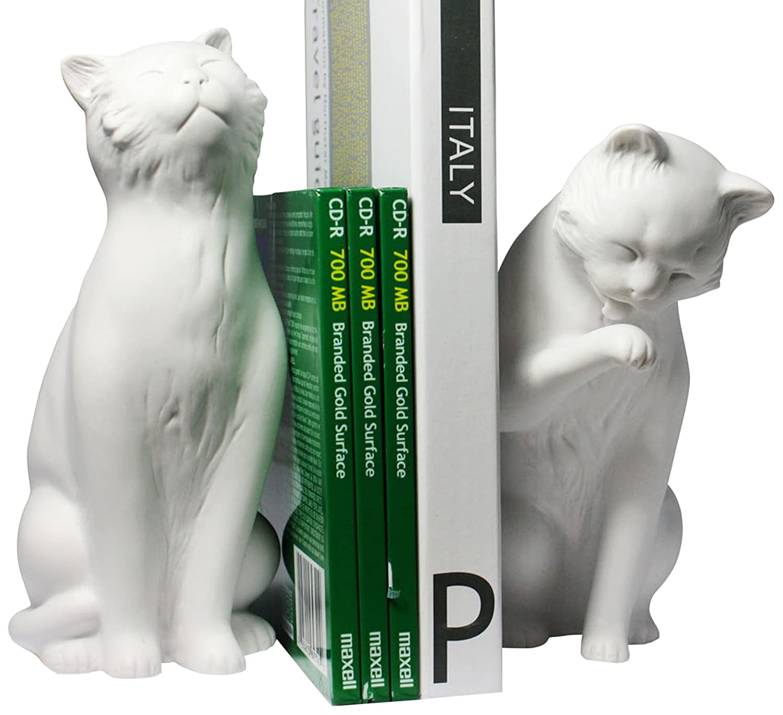 amazon com danya b cat bookend set white home u0026 kitchen