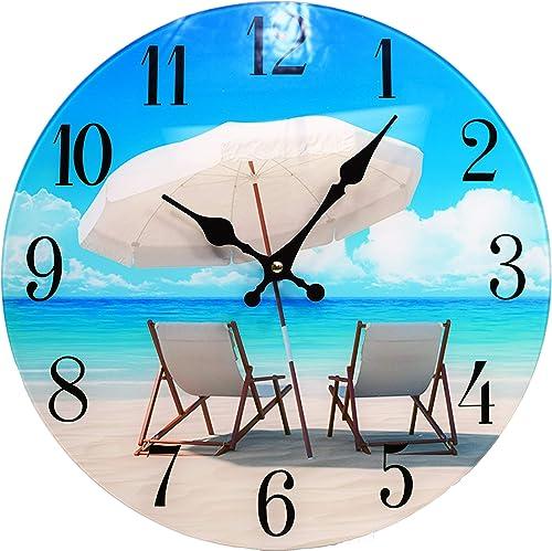 Beach Chair Glass Wall Clock New-13-X-13–Home-Wall-Decor-Coastal-Nautical-Beach