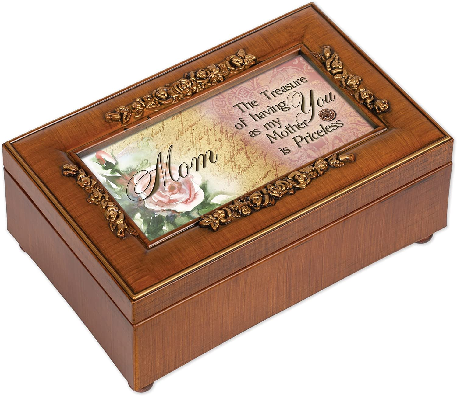 Cottage Garden Priceless Having You as Mother Woodgrain Embossed Jewelry Music Box Plays Wind Beneath My Wings