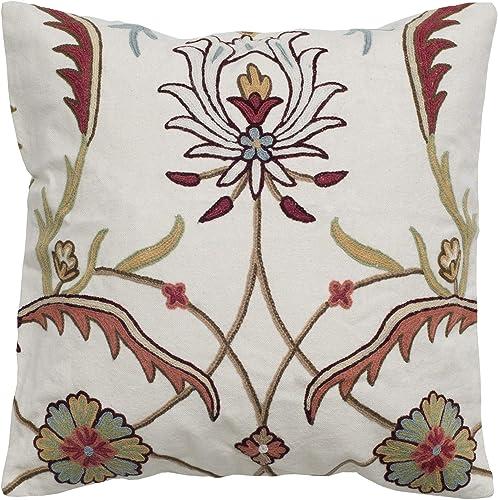 Rizzy Home T05030 Decorative Pillow, 20 X20 , Orange Neutral White