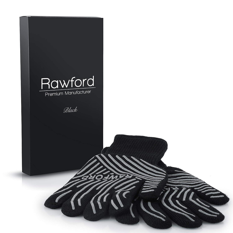 Rawford Grillhandschuhe - Extrem hitzebeständige Topfhandschuhe bis 500 °C - Ofenhandschuhe für Küche & Grill - Feuerfeste Kochhandschuhe mit extra langem Unterarmschutz | Hitzeschutzhandschuhe (S/M)