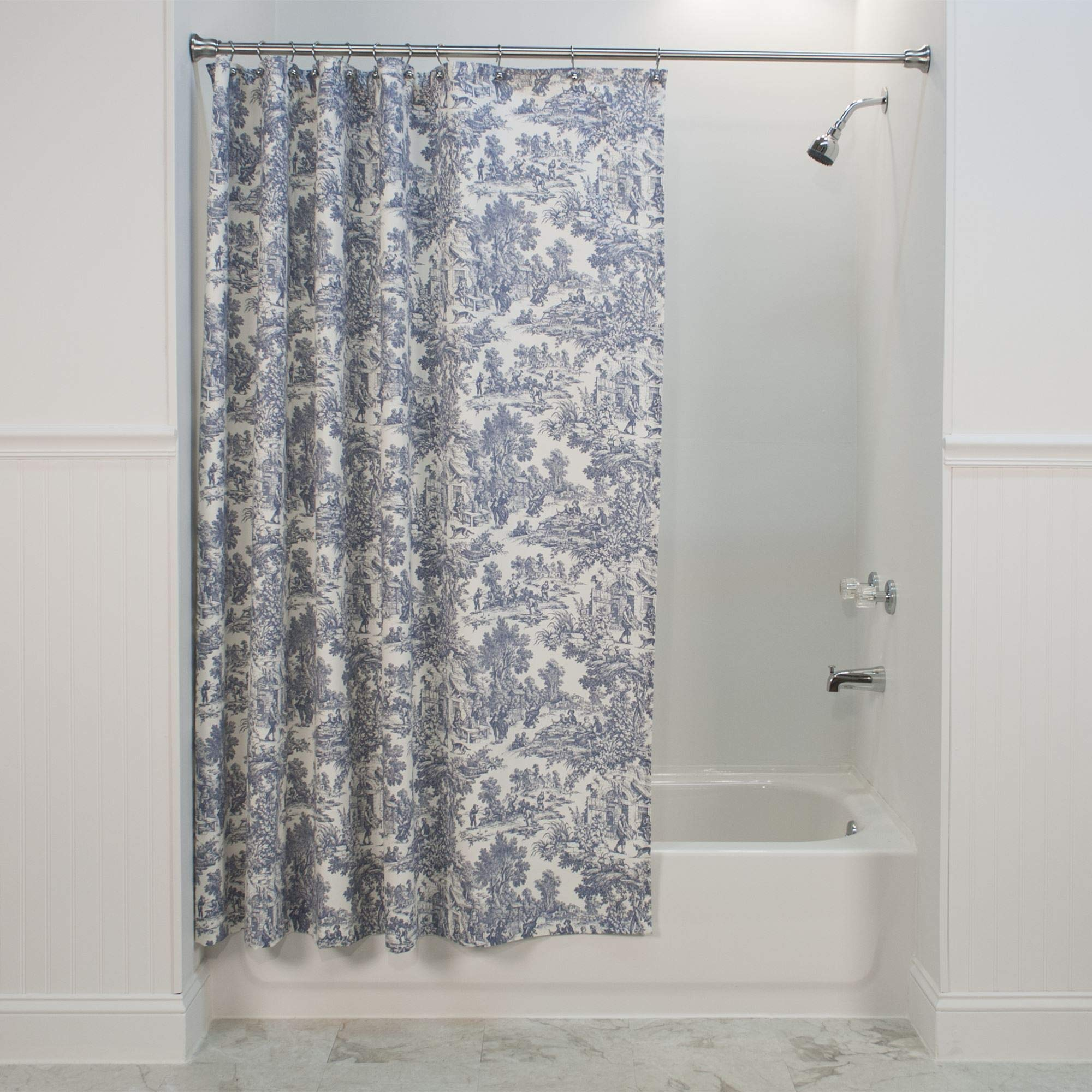 Victoria Park Toile Bathroom Shower Curtain, Blue