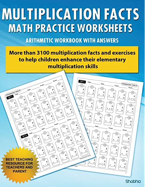 Multiplication Facts Math Worksheet Practice Arithmetic Workbook With  Answers: Daily Practice Guide For Elementary Students: Shobha:  9781530952939: Amazon.com: Books