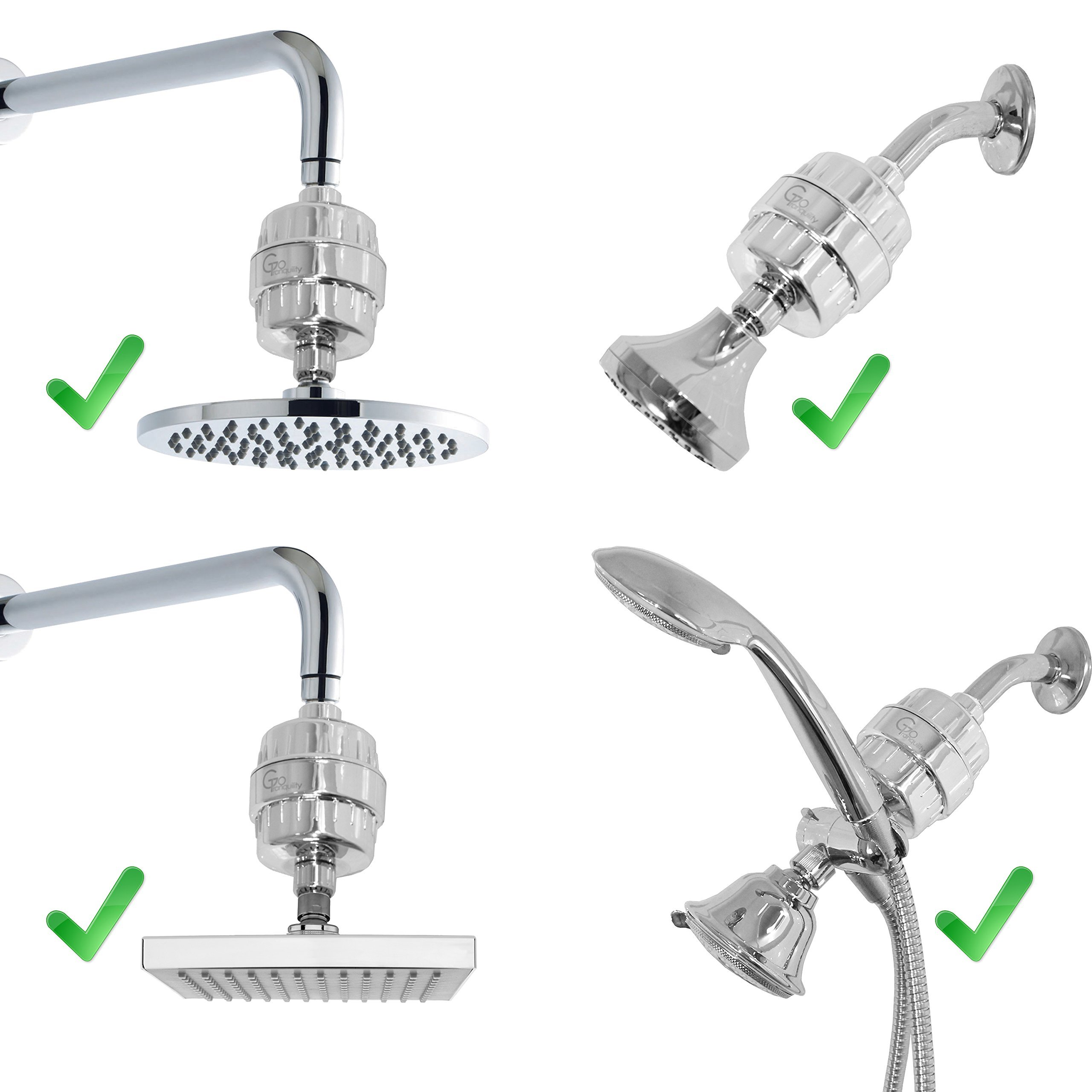 Shower Head Chlorine Filter & Hard Water Softener With Replacement Cartridge Prevents Hair & Skin Dryness Universal Showerhead System by GoTranquility (Image #5)