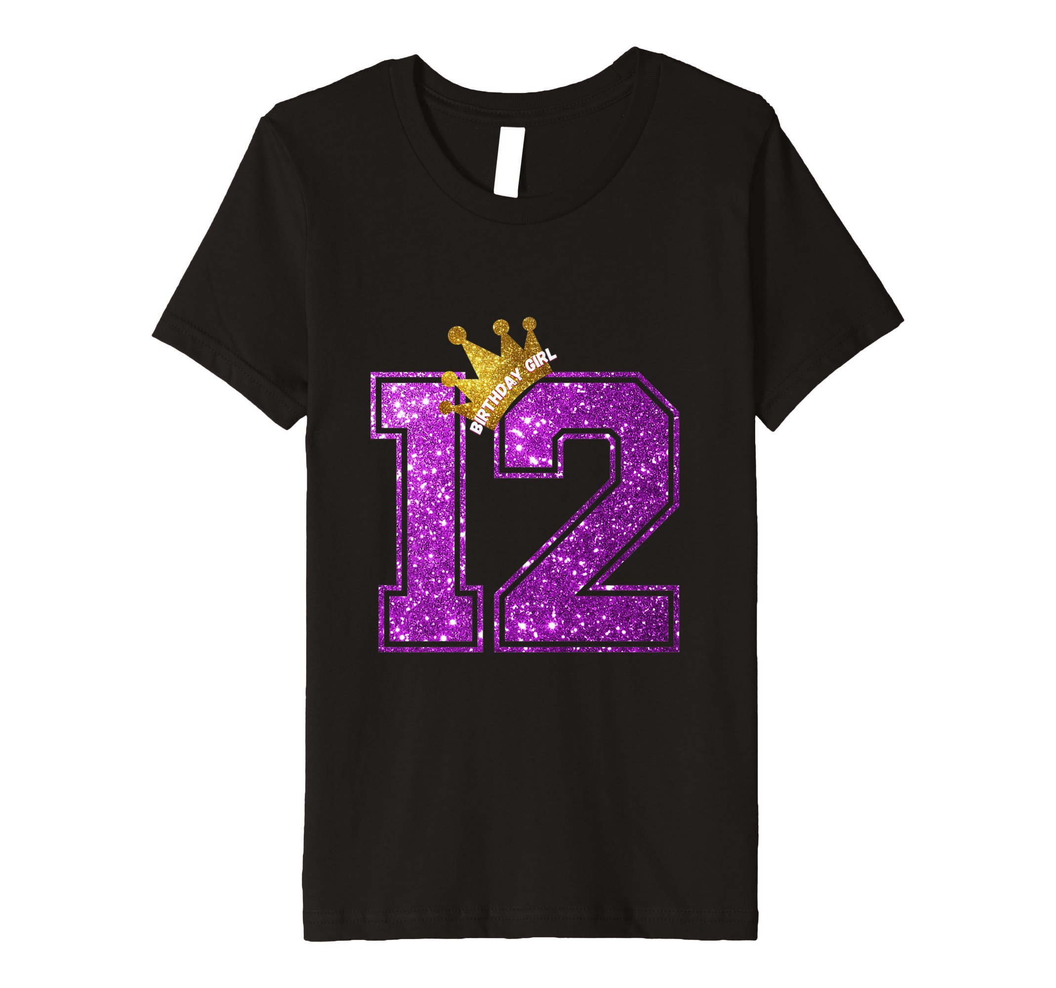Kids 12 Year Old Birthday Shirt - Girls 12th Birthday Shirt 12 Black
