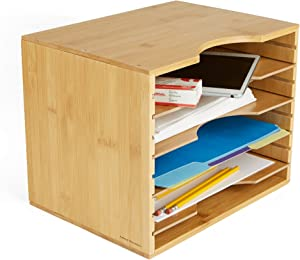 Mind Reader 4BMBOX-BRN 4 Tier File Organizer Box, Adjustable Shelves, Space-Saver, Home, Office, School, Study Room, Bamboo Brown