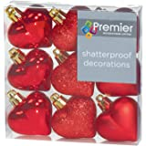 9 X Red Heart Shaped Christmas Tree Bauble Decorations Glitter Matte & Shiny