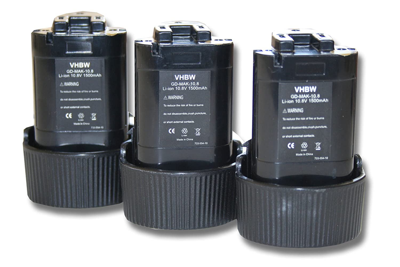 3 x vhbw Batteria 1500mAh per Utensile Makita Radio da Cantiere DMR102, DMR103, DMR103B, DMR105.
