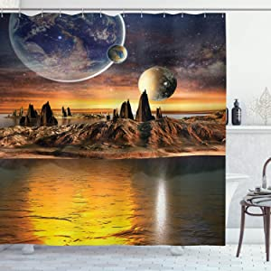 "Ambesonne Fantasy Shower Curtain, Alien Planet with Earth Moon and Mountain Fantasy Sci Fi Galactic Future Cosmos Art, Cloth Fabric Bathroom Decor Set with Hooks, 70"" Long, Marigold Brown"