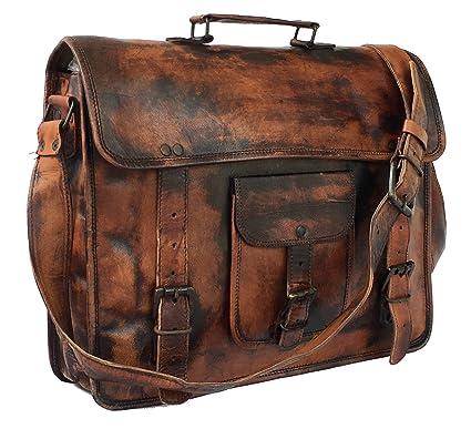 618cf8ecc8 Image Unavailable. Image not available for. Color  DHK Leather Vintage 15  Inch Laptop Messenger Bag briefcase Satchel ...