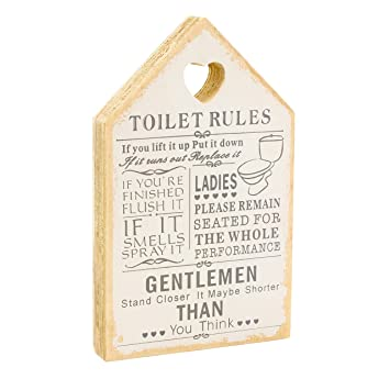 Leonardo Wooden Signs Shabby Chic Toilet Rules Novelty Hanging Bathroom  White Plaque, Wooden Funny Toilet