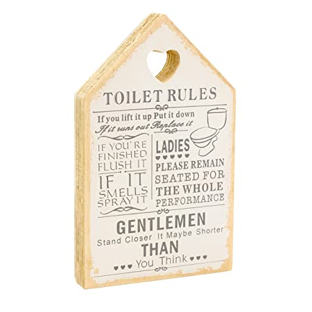 Leonardo Wooden Signs Shabby Chic Toilet Rules Novelty Hanging Bathroom White Plaque Wooden Funny Toilet Signs For Wall Or Door Ideal Toilet