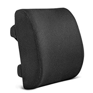 Restorology Orthopedic Memory Foam Lumbar Support Back Cushion for Office Chair and Car Seat - Designed to Reduce Back Pain and Boost Circulation, Hypoallergenic, Adjustable Straps and Mesh Cover